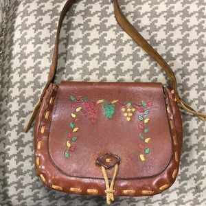 All leather painted purse shoulder bag satchel.